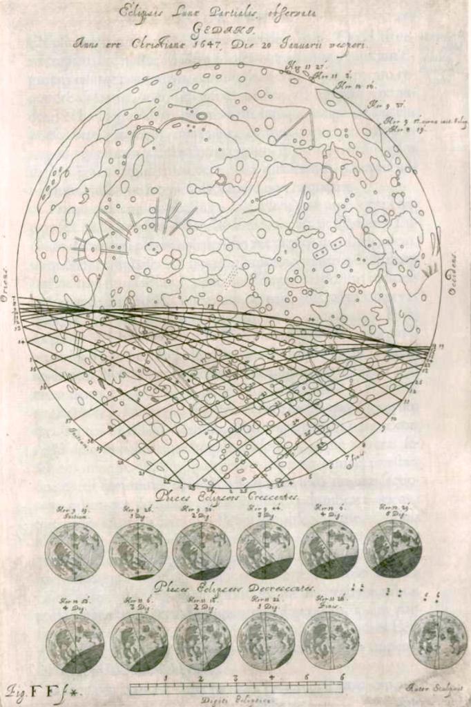 Johannis Hevelii Selenographia - lunar eclipse - 633