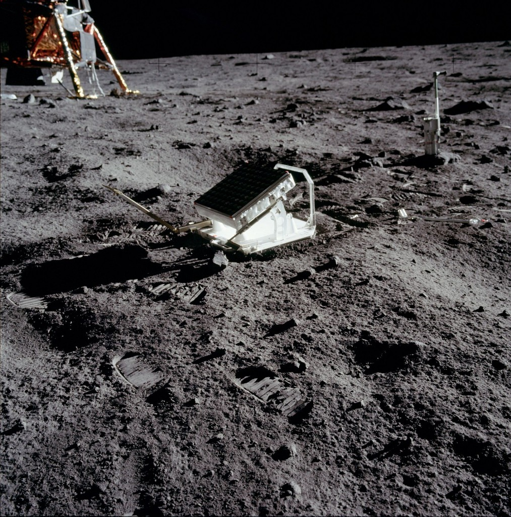 http://en.wikipedia.org/wiki/Lunar_Laser_Ranging_experiment