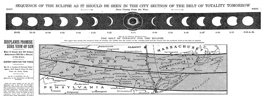 NYTimes Headline, Solar Eclipse of January 24, 1925